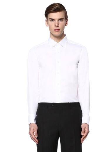 Canali Uzun Kollu Klasik Gömlek Beyaz